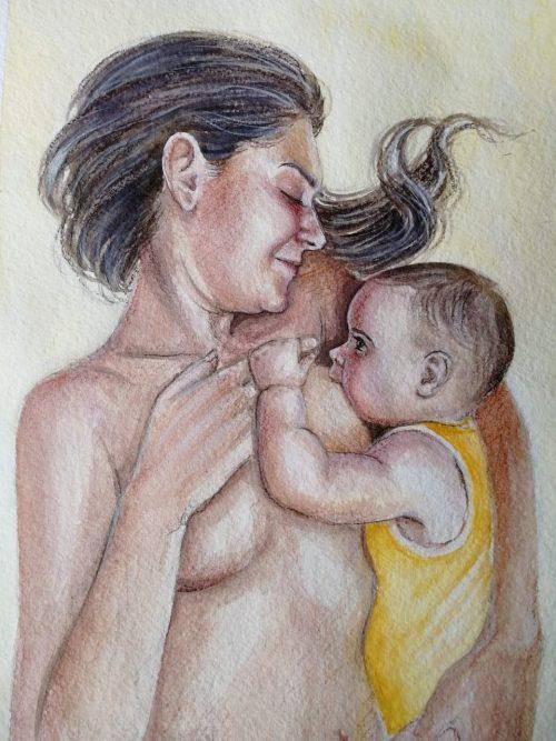 Светлана и её маленькая дочь в процессе знакомства